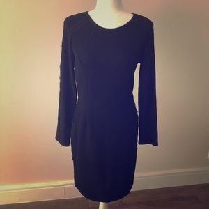 Black Long Sleeved Dress with Lace Embellishments
